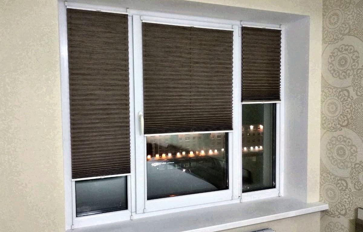 шторы плиссе коричневые фото