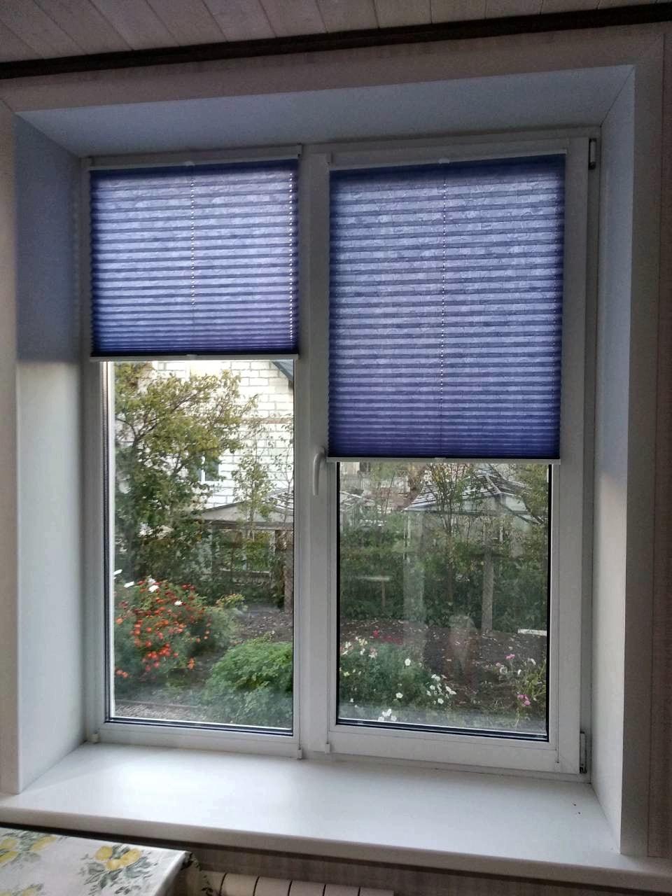 шторы плиссе фото на окне в кухне